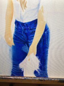 In progress painting. Woman's blue jeans and white t-shirt.